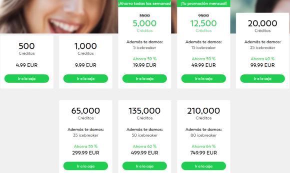 precio créditos lovoo app
