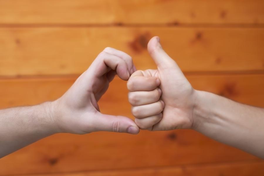 friendzone dos manos haciendo señas de amor