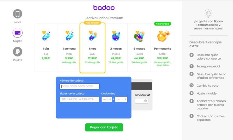 Badoo Precios Sucrcipción Premium