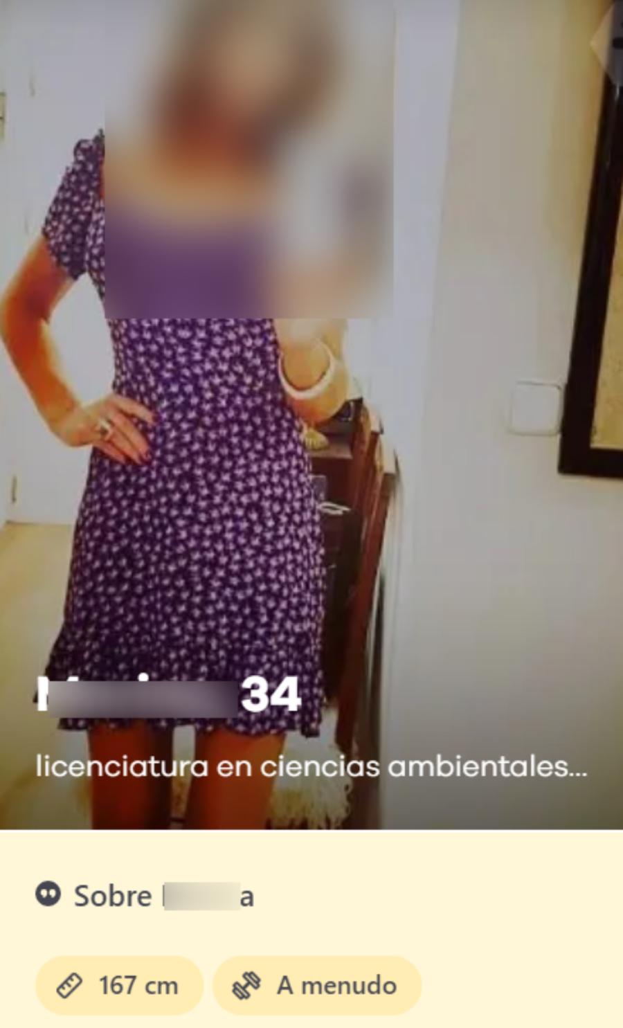 perfil mujer en la bumble app