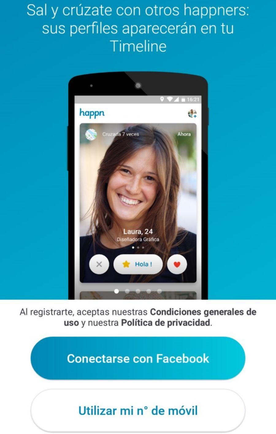 Registro app para ligar Happn España