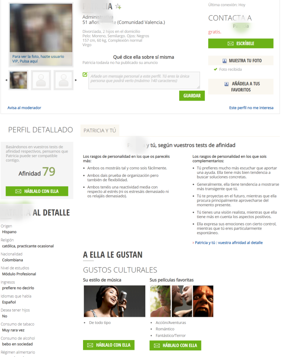 perfil mujer meetic affinity
