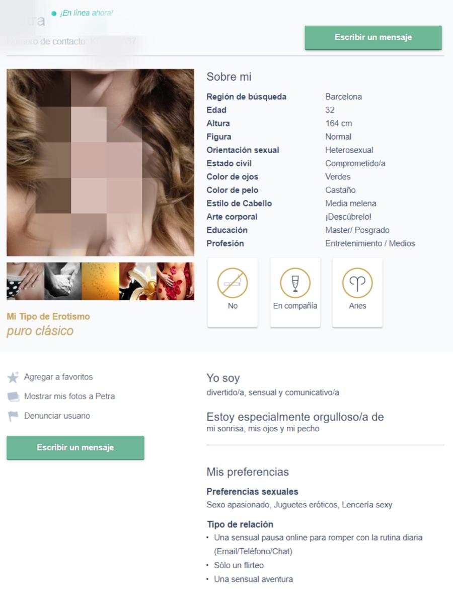 perfil de mujer en la página de citas sexuales New Honey