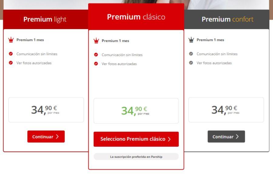 Precios Suscripción Premium Parship España