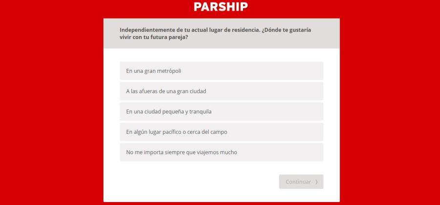 Parship España test sde reistro en la web de contactos