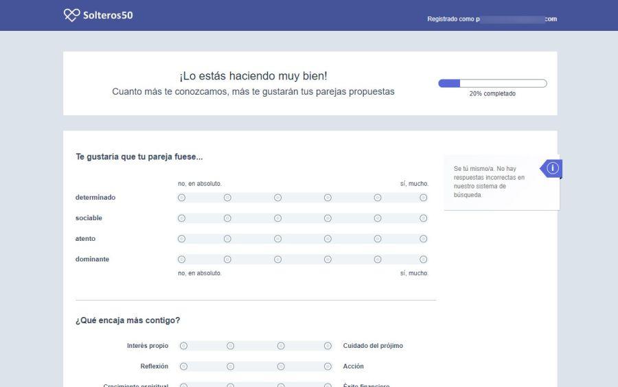 Test de personalidad para registro en la web para buscar pareja senior Solteros50